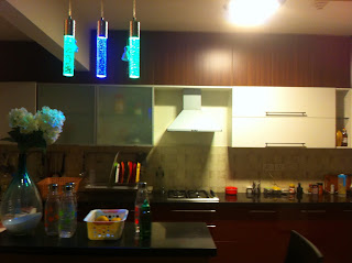 Modular Kitchen with Breakfast Counter and lighting