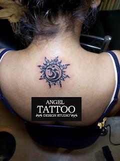 om tattoo, om tattoo on back neck, om tattoo for girls