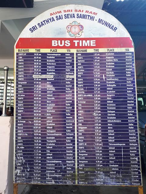 Horaires des bus en partance de Munnar