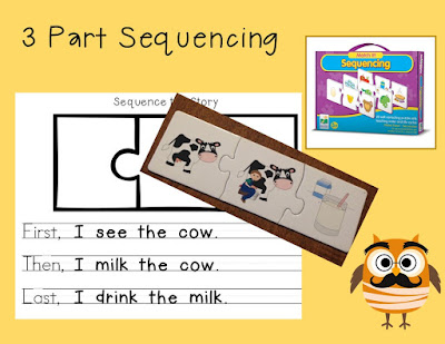 Teaching kindergartners to sequence goes beyond the box of puzzles that can't be wrong. Use those puzzles to teach a writing sequence: First, Then, Last.  This can be an independent writing center, too.