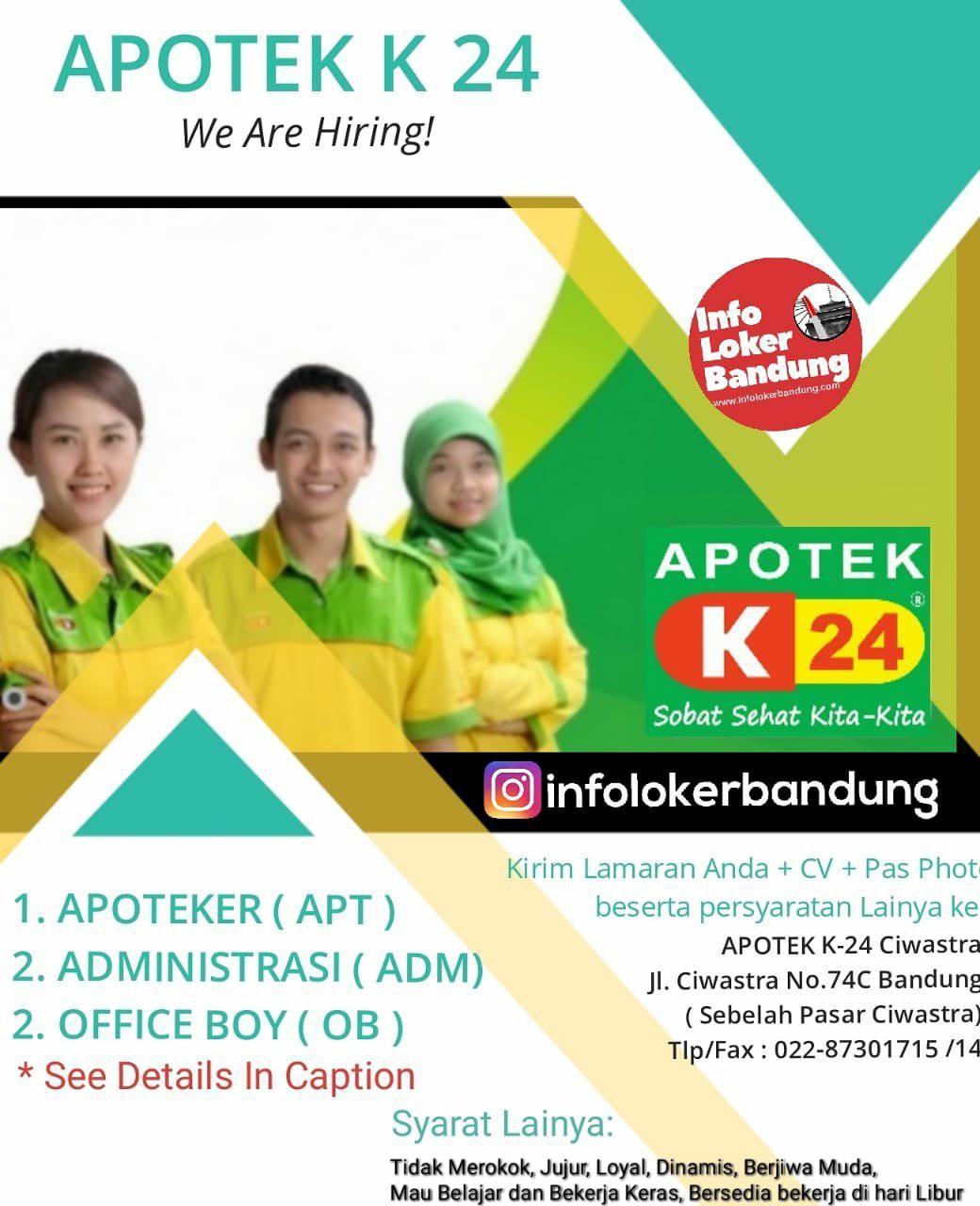 Lowongan Kerja Apotek K 24 Ciwastra Bandung Maret 2019