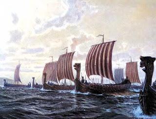 Flota de Drakkars - barcos vikingos