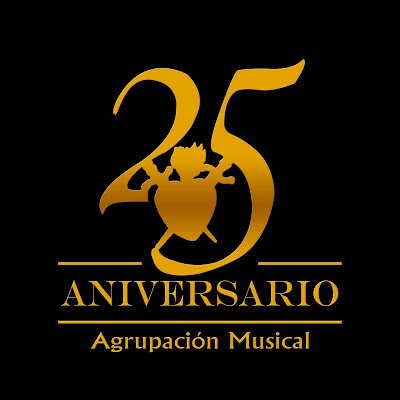 Logotipo del 25 aniversario fundacional de la Agrupación Musical de Nuestra Señora de las Angustias y Soledad de León. 1992