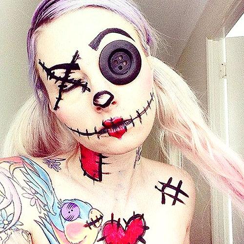 Adorable maquillaje de chica peluche para Halloween