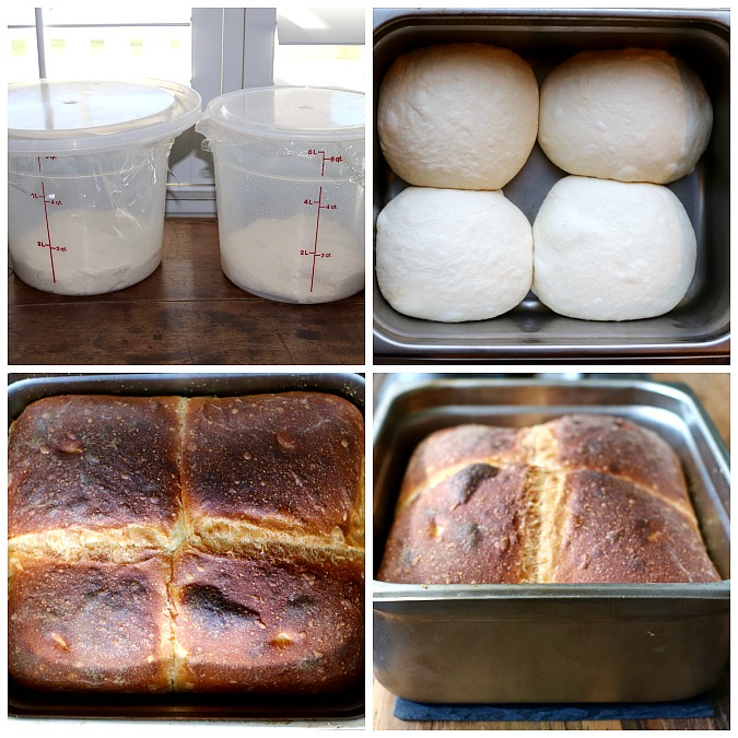 Four photos of making Irish Batch Bread