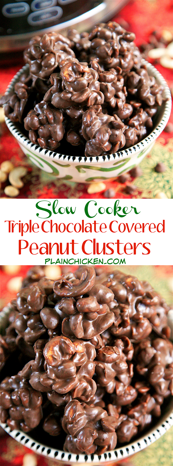 {Slow Cooker} Triple Chocolate Covered Peanut Clusters recipe - three types of chocolate, peanuts and cashews slow cook for 2 hours. Perfect for parties and homemade gifts. Can make and freeze for up to 1 month. Everybody raves about these!