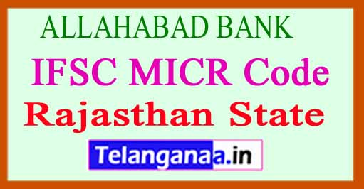 ALLAHABAD BANK IFSC MICR Code Rajasthan State