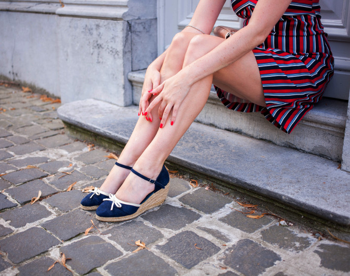 espadrille wedges, striped sixties dress