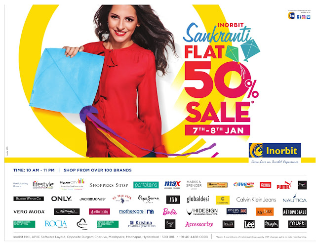Inorbit sankranthi flat 50% Sale | January 2017 discount offers