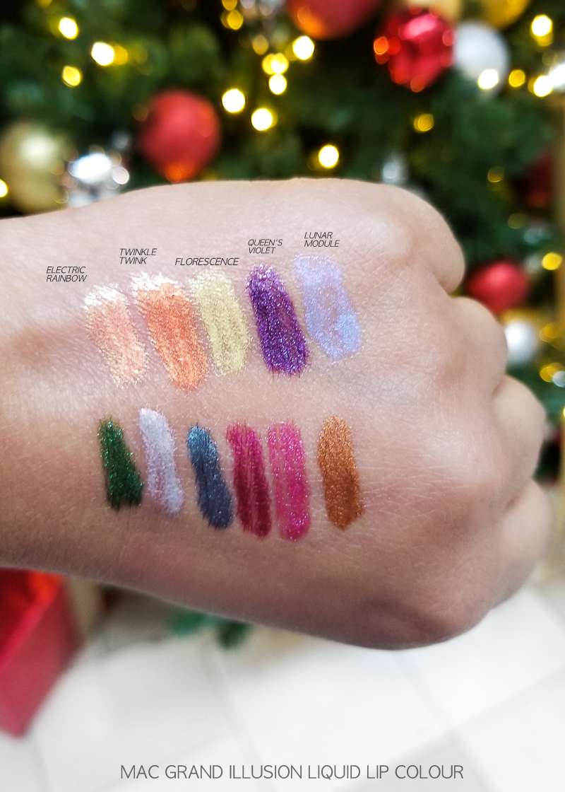 MAC Grand Illusion Liquid Lip Colours Lipgloss - Swatches - Electric Rainbow - Twinkle Twink - Florescence - Queens Violet - Lunar Module