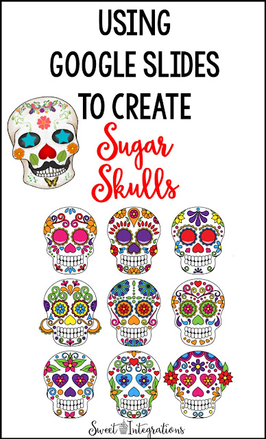 Now you can create a DIY sugar skull within your classroom using Google Slides. This blog post walks you through the process and even includes a FREE download to try with your upper elementary, middle school, or high school students. It's a great way to have some fun this Halloween or during the Day of the Dead. Students will create their own artwork design using the free template provided. Click through to see the easy tutorial now. Plus get other materials your students will love!