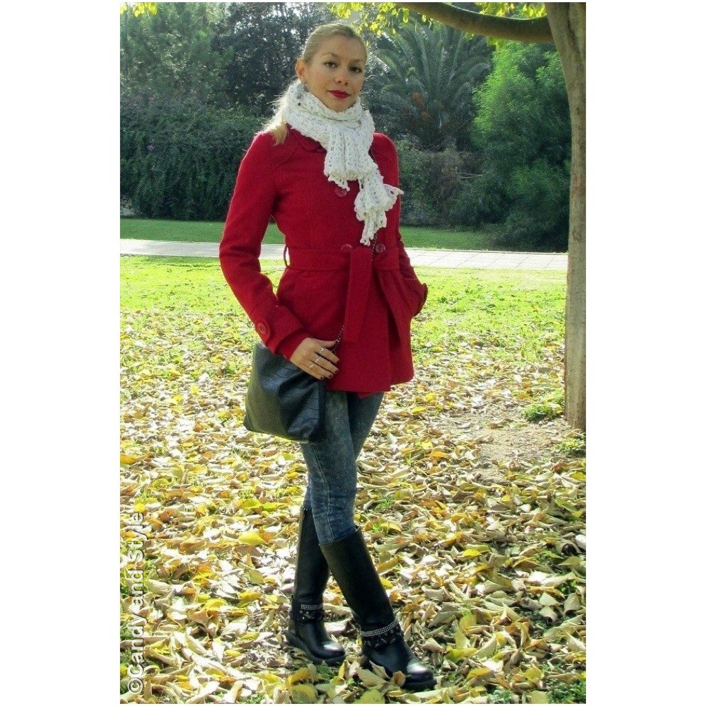 Holiday Outfit - RedCoat+KnittedScarf+Jeans+Bikers