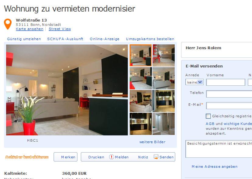 jensrolemyahoode alias Herr Jens Rolem Wohnung zu vermieten modernisiert  Vorkassebetrug