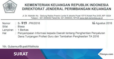 Informasi Penghentian Penyaluran Tunjuangan Profesi Guru TA 2016