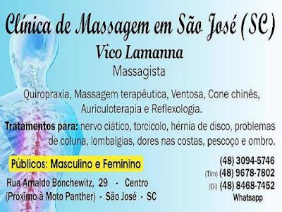 Clínica Massagem Terapêutica Massoterapia Quiropraxia em São José SC (grande Florianópolis) Tratamento de Dores nas Costas, Coluna, Nervo Ciático, Dores Lombares, Torcicolo, Pescoço e Ombro (48) 3094-5746 - Atendimento de Segunda a Sábado