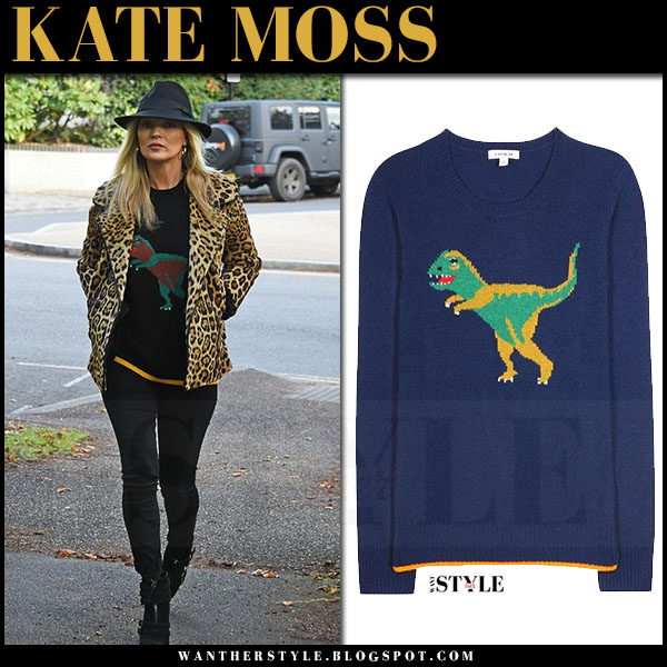 Kate Moss in leopard print fur coat, dinosaur motif coach sweater and skinny jeans what she wore street style