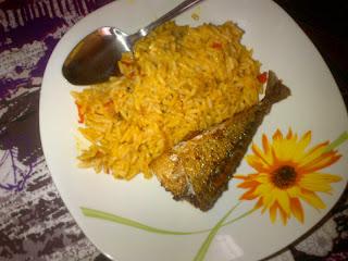 palm oil jollof rice with fish by Miz Osa