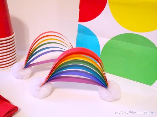 Celebrate your rainbow baby with these fun rainbow tabletop decorations!