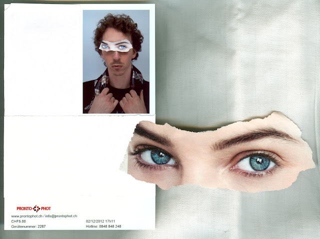 A scan of a guy sitting in a photo booth wearing girls eyes torn out from a newspaper.
