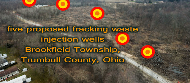 woodland cleared for Five proposed toxic fracking waste injection wells planned to be sited way too near family homes, businesses, and government buildings of Brookfield, Ohio