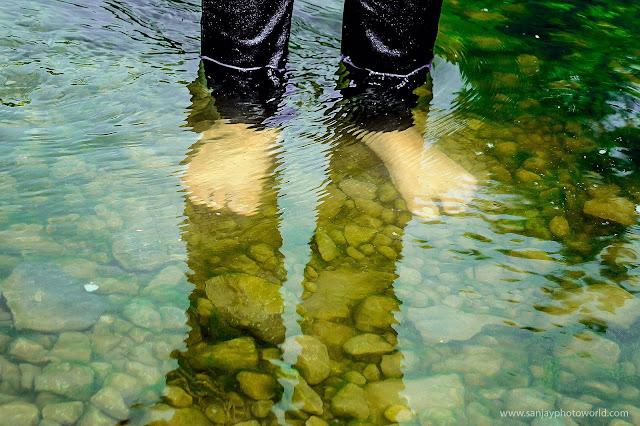 legs inside water