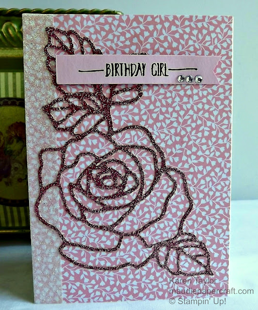 Stampin' Up! Pink and sparkly Rose Wonder card