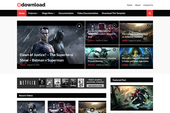 Video Download – Responsive Blogger Template