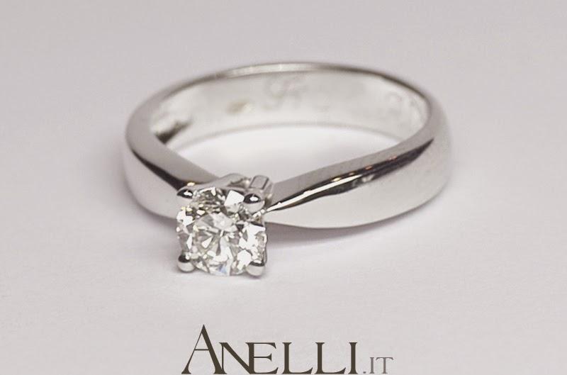 Famoso Anelli Solitari: Anello Solitario con Diamante 0.45 carati colore  EF43