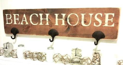 Beach Wall Rack with Shell Hooks