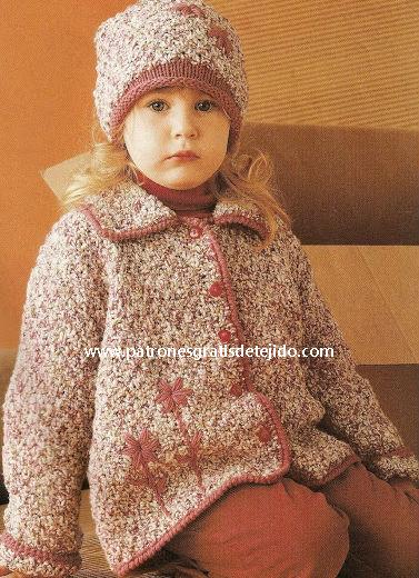 Conjunto chaqueta y gorro para niña tejido con dos agujas tutorial