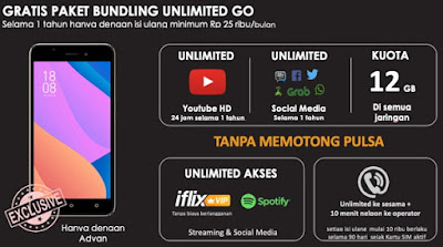 Smartphone Unlimited Advan s50 4G, Bebas youtube dan sosmed satu tahun