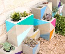 Landscape - Colorful Cinderblock Succulent Garden