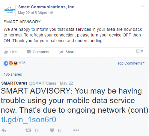 Advisory: Smart Users Experience Mobile Internet or Data Problem