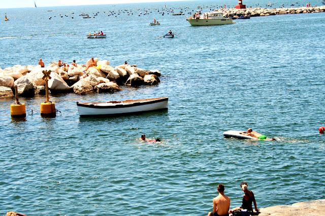 mare, acqua, ragazzi, salvataggio, cane, cielo, barche, vacanze
