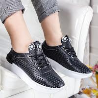 Pantofi casual dama negri cu talpa groasa la moda