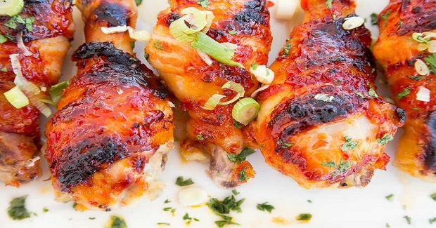 Asian Glazed Bacon Wrapped Chicken Legs Recipe