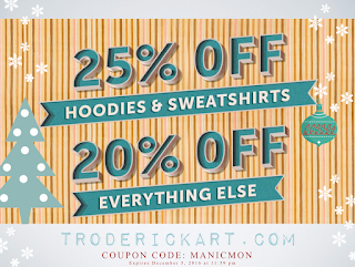 Get those gifts. 25% off hoodies and sweatshirts. 20% off everything else troderickart.com