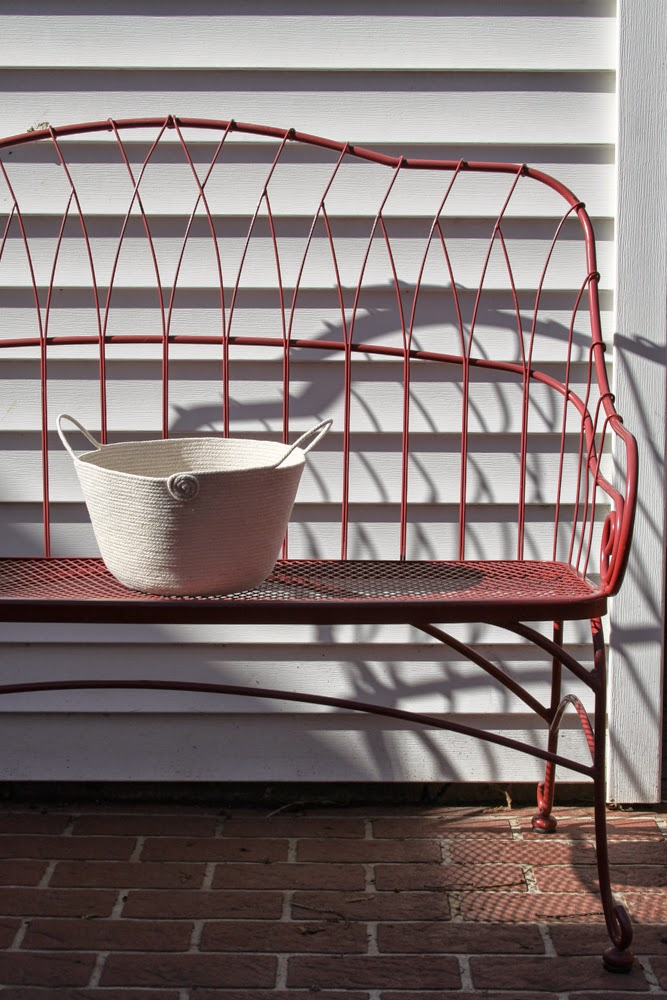 rope basket, sewn rope basket, red bench, Anne Butera, My Giant Strawberry