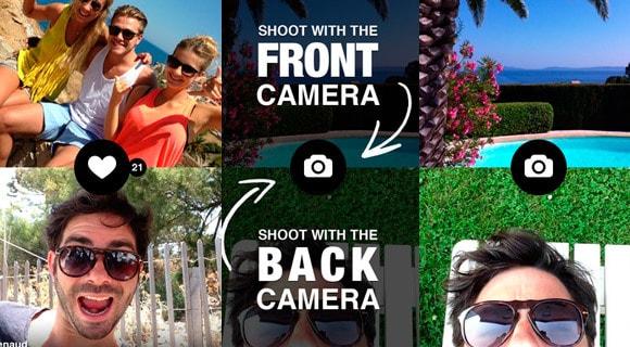 بواسطة هذا التطبيق ستستطيع تشغيل الكاميرا الامامية والخلفية في نفس الوقت والتصوير بهما معا