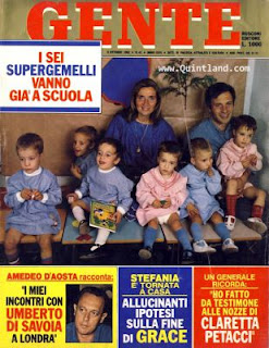 The sextuplets made the cover of Gente when they began to attend school