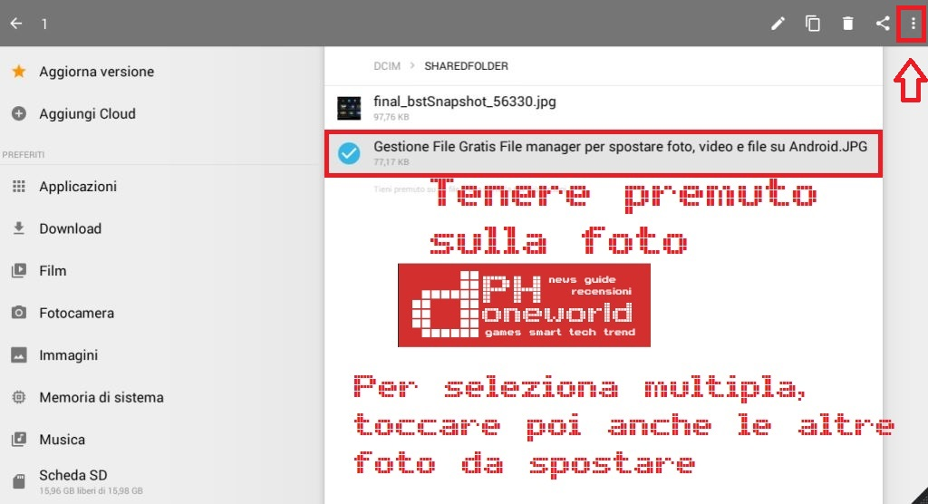 come spostare foto, video e file su micro SD con Gestione File Gratis