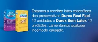 Durex® recolhe preservativos Durex Real Feel e Durex Sem Látex