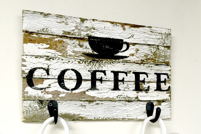 How to Make a Chippy Coffee Sign with Hooks