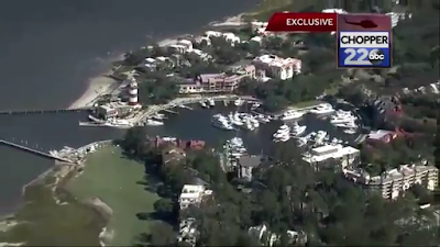 harbour town aerial helicopter view after hurricane matthew