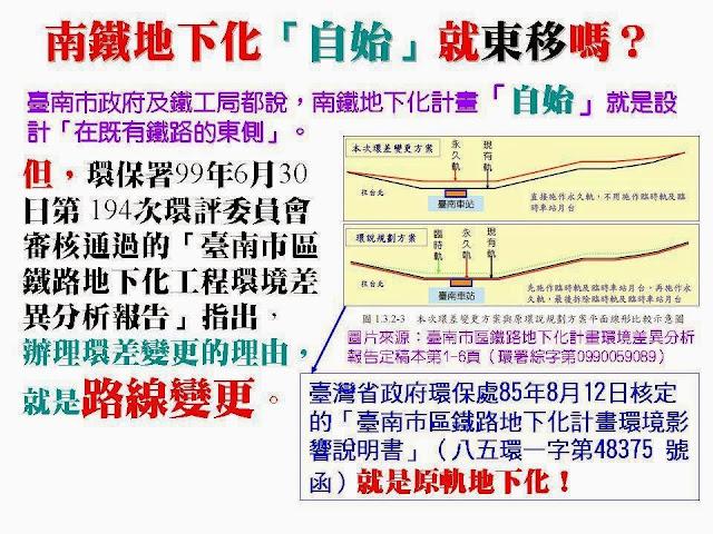 反臺南鐵路東移: 十一月 2013