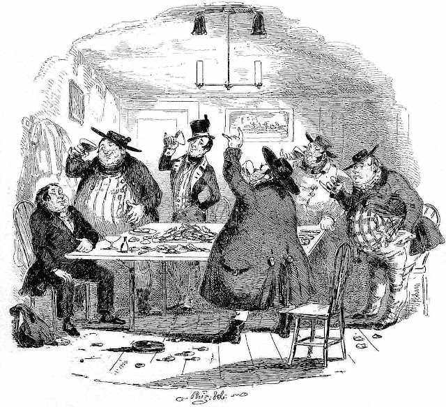 a George Cruikshank 1836 cartoon of men drinking
