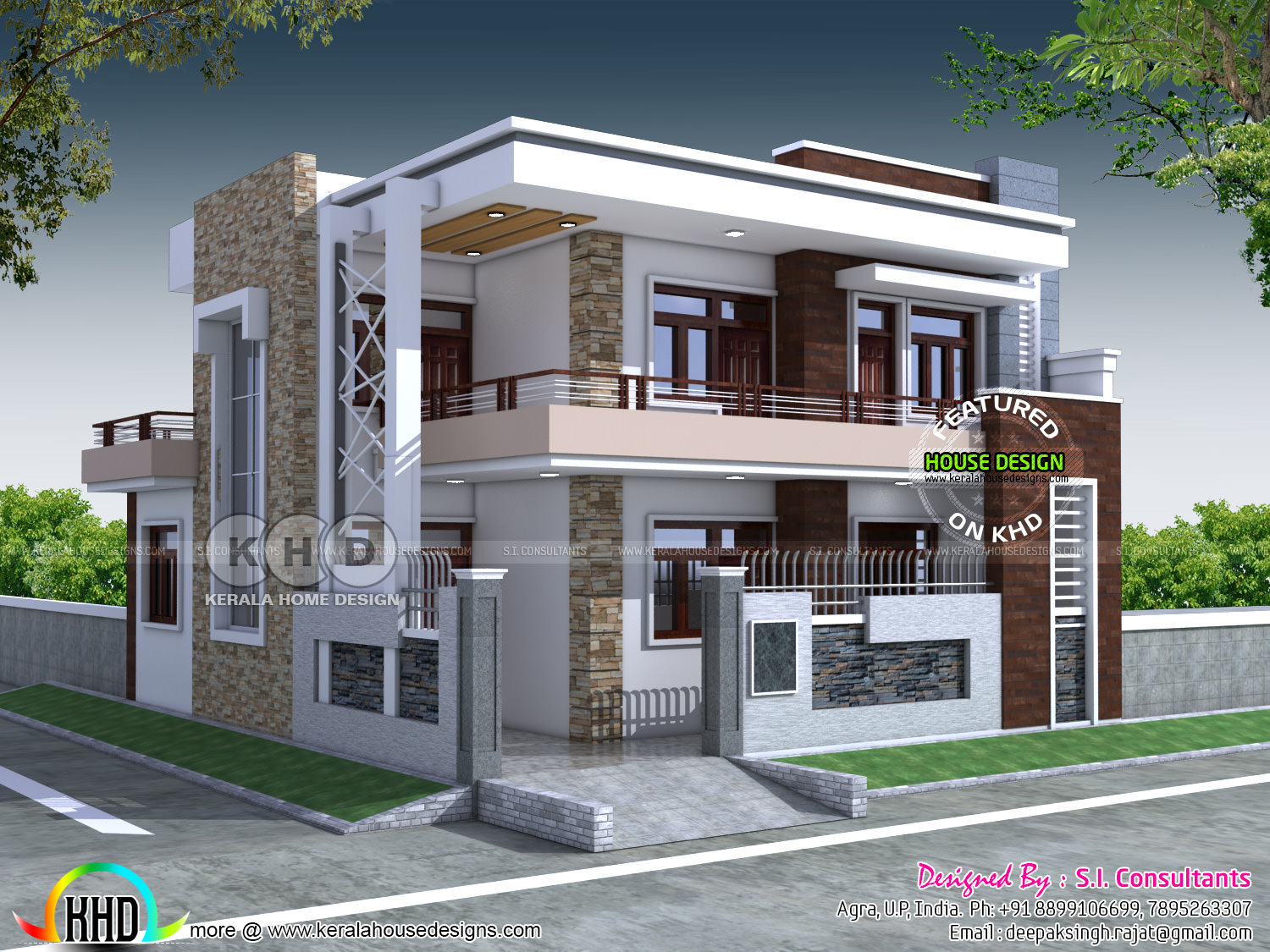 Kerala home design and floor plans for 5 bedroom modern farmhouse plans