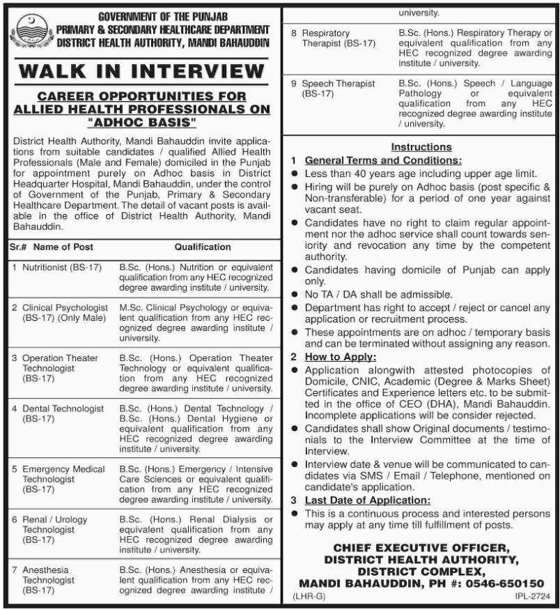 Advertisement for Healthcare Department Punjab Jobs
