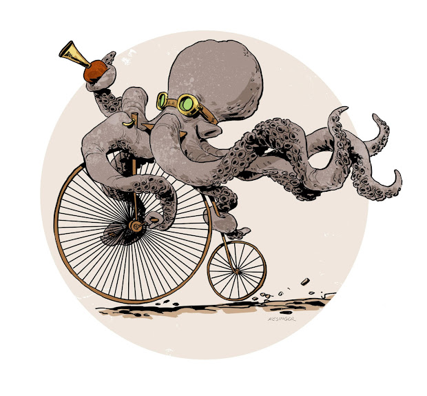 Steampunk Octopus Art Drawings