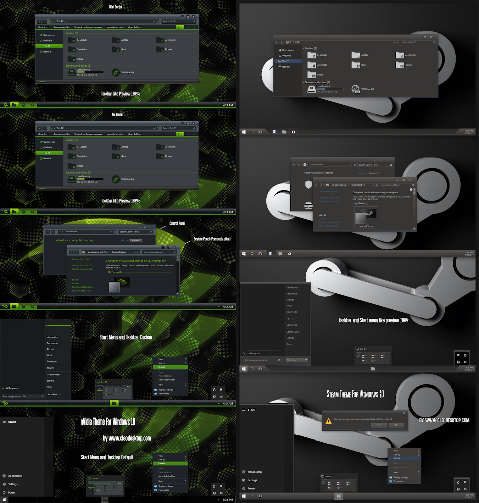 Steam And nVidia Theme For Windows10 2004